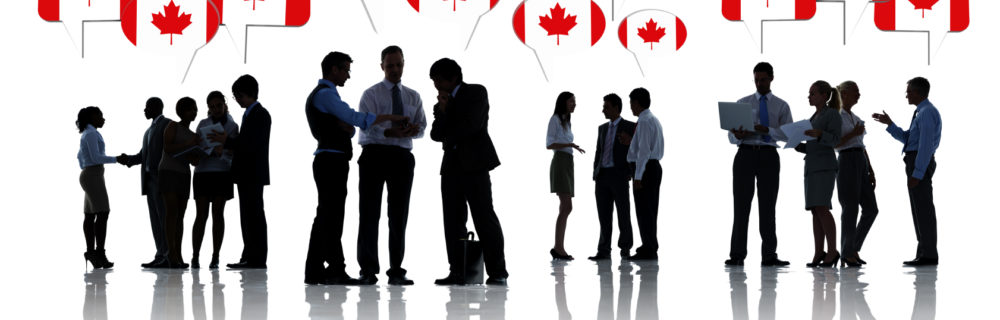 Group Of Business People Talking And Discussing About Canada